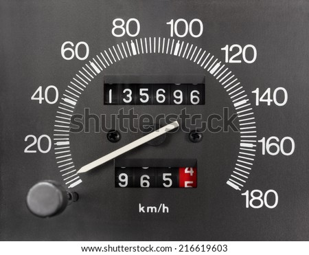 Automobile Analogue Speedometer and Odometer Royalty-Free Stock Photo #216619603