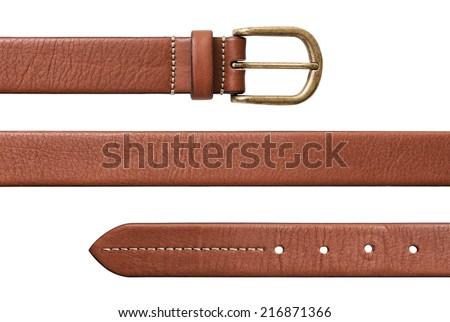 Leather belt isolated on white background Royalty-Free Stock Photo #216871366