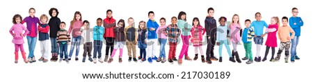 Large group of children posing isolated in white #217030189
