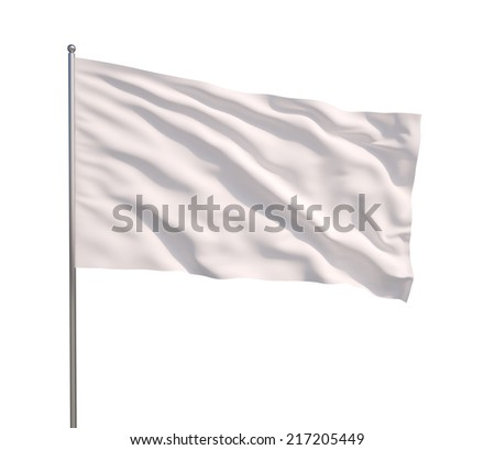 Blank white flag. 3d illustration on white background  #217205449