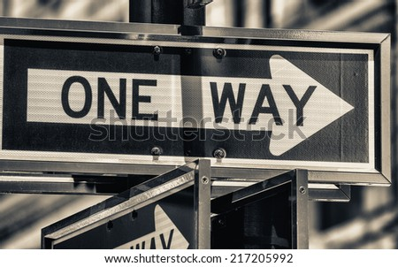 One Way street sign in New York.