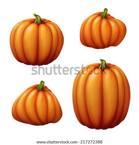 set of assorted shapes pumpkins illustration, vegetables isolated on white background