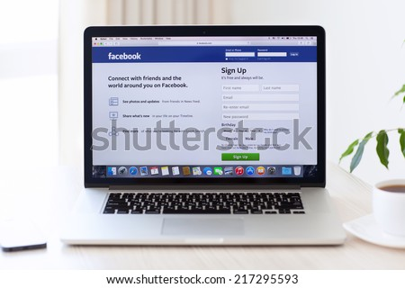 Simferopol, Russia - August 7, 2014: Facebook the largest social network in the world. It was founded in 2004 by Mark Zuckerberg and his roommates during training at the Harvard University. #217295593