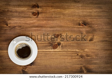 Coffee cup top view on wooden table background #217300924