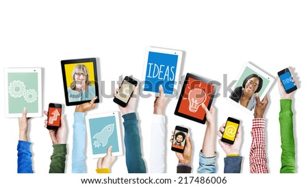Hands Holding Digital Devices Pictures and Symbols
