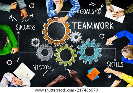 Diverse People in a Meeting and Teamwork Concept Royalty-Free Stock Photo #217486570