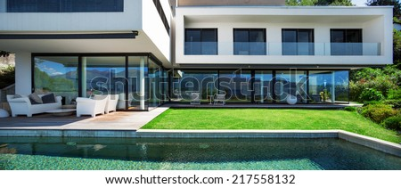 Modern house with pool in exterior #217558132