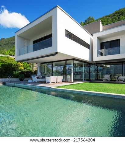 Modern house with pool in exterior #217564204