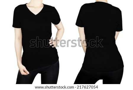 Black T - shirt on woman body with front and back side isolated on white background. #217627054