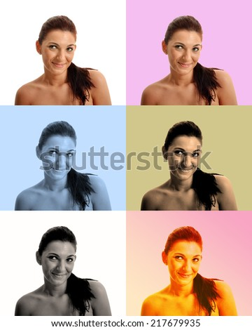 Choosing Filter for a selfie of a beautiful brunette with a funny expression #217679935
