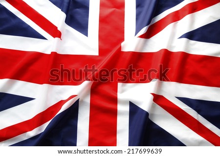 Closeup of Union Jack flag Royalty-Free Stock Photo #217699639