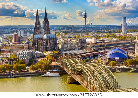 Aerial view of Cologne, Germany Royalty-Free Stock Photo #217726825