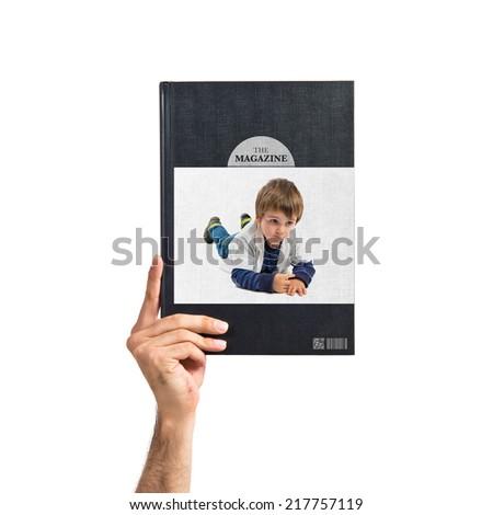 Cute blonde kid printed on book #217757119