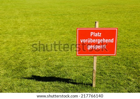 soccer Field cloused writen in german language #217766140
