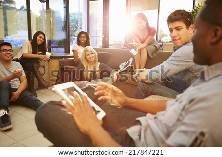 Group Of University Students Relaxing In Common Room #217847221