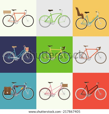 Vector flat modern urban, town and city bicycles set | Various different bicycles with wooden crates, baby seats, travel and touring bicycle, pink bicycle, white tires, carbon wheels and more