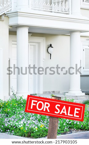 Real estate sign in front of new house for sale #217903105
