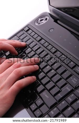 Male hands on laptop keyboard #21791989