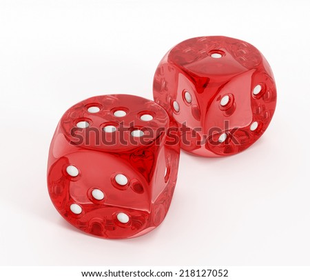 Two red dices isolated on white background. #218127052