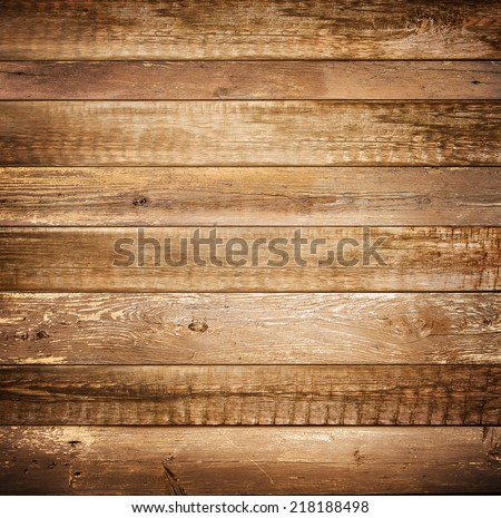 Background of brown old natural wood planks Dark aged empty rural room with tree floor pattern texture Closeup gold view surface of retro pine red logs inside vintage light warm interior with shadows #218188498