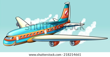 Cartoon plane - illustration for the children