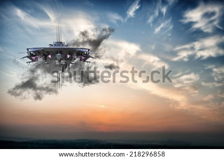 ufo spaceship flying in the sky #218296858