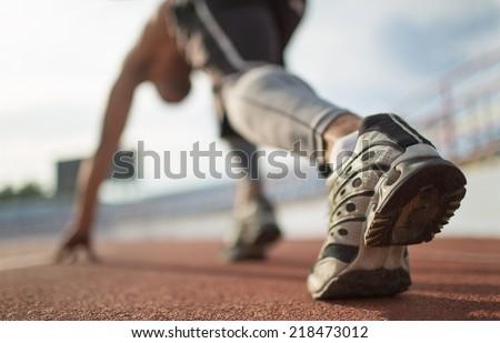 Athlete runner feet running on treadmill closeup on shoe. #218473012