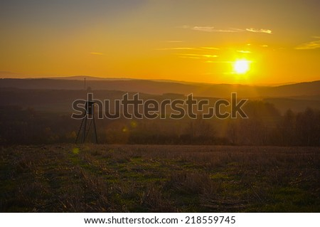 Hunting pulpit in Poland, sunset #218559745