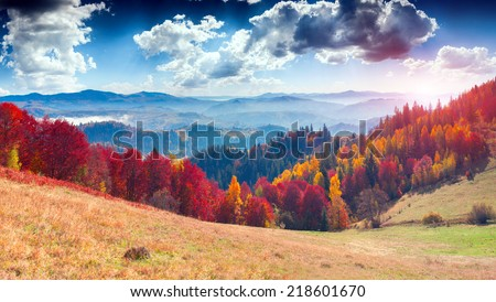 Colorful autumn landscape in the mountain village. Foggy morning in the Carpathian mountains. Sokilsky ridge, Ukraine, Europe.