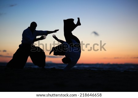 Practicing aikido technique, silhouettes of masters Royalty-Free Stock Photo #218646658