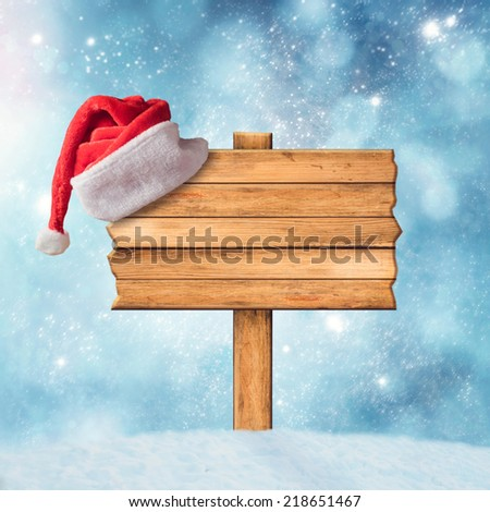 Wooden sign and Santa Claus Hat