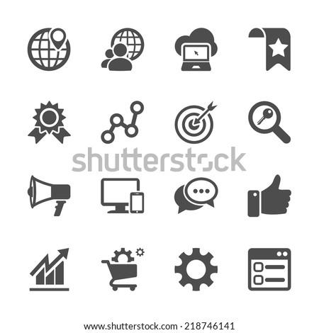 seo and internet marketing icon set, vector eps10. Royalty-Free Stock Photo #218746141