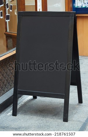 Restaurant menu blank board on the street
