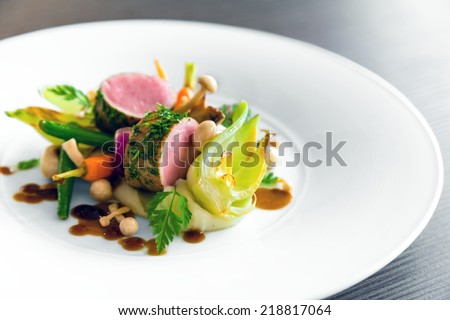 Delicious gourmet food Royalty-Free Stock Photo #218817064