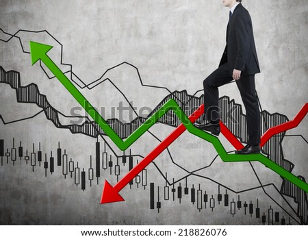 Successful businessman climbs up to the top of growing forex graph.