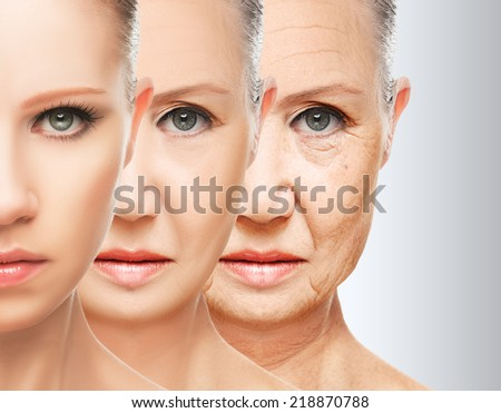 beauty concept skin aging. anti-aging procedures, rejuvenation, lifting, tightening of facial skin, restoration of youthful skin anti-wrinkle Royalty-Free Stock Photo #218870788