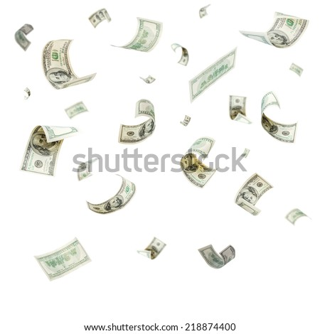 Rain from falling dollars isolated on white background