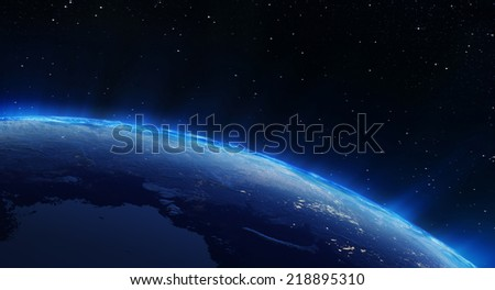 Earth north city lights. Elements of this image furnished by NASA #218895310