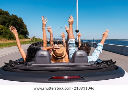 Just fun and road ahead. Rear view of young happy people enjoying road trip in their convertible and raising their arms up #218931046