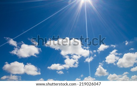 Blue sky with clouds and sunlight background  #219026047