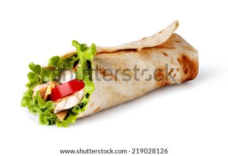 Chicken fajita wrap sandwich Royalty-Free Stock Photo #219028126