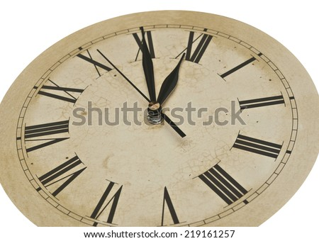 Old Clock Isolated on white . old vintage clock face  #219161257