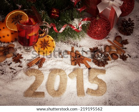 New year 2015 with snow and Christmas food #219195562