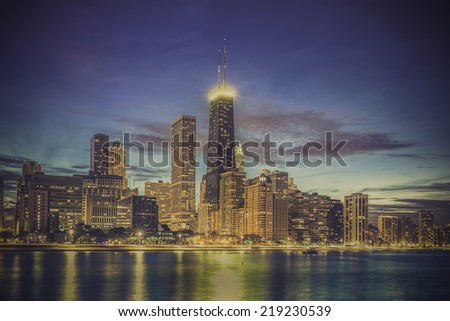 Chicago Downtown skyline by dusk