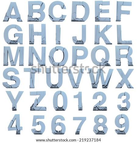 cracked alphabet made of stone. on white background #219237184