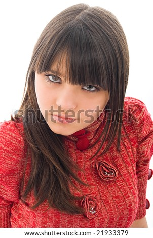 Beautiful young girl, closeup of her face, isolated on white #21933379