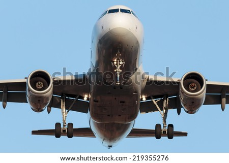 Narrow body Airbus approaching runway #219355276