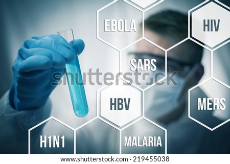 Medical research and chemistry looking to cure diseases Royalty-Free Stock Photo #219455038