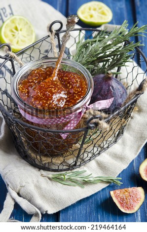 Fig jam with with rosemary and lemon #219464164