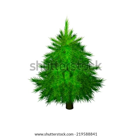 green fir-tree on a white background. Vector #219588841